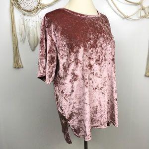 Kensie pink crushed velvet shirt sleeve top xl